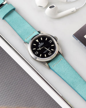 Suede Turquoise Watch Strap for rolex explorer