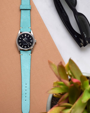 Turquoise Suede Minimal Stitch Watch Strap for rolex explorer 1