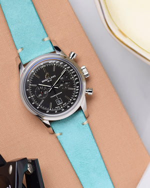 Turquoise Suede Minimal Stitch Watch Strap for breitling transocean