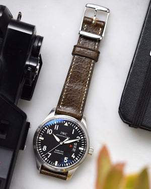 Vintage Brown Leather Watch Strap for IWC pilot watch