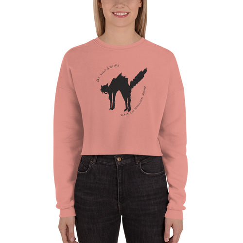 Black Cat Crop Sweatshirt