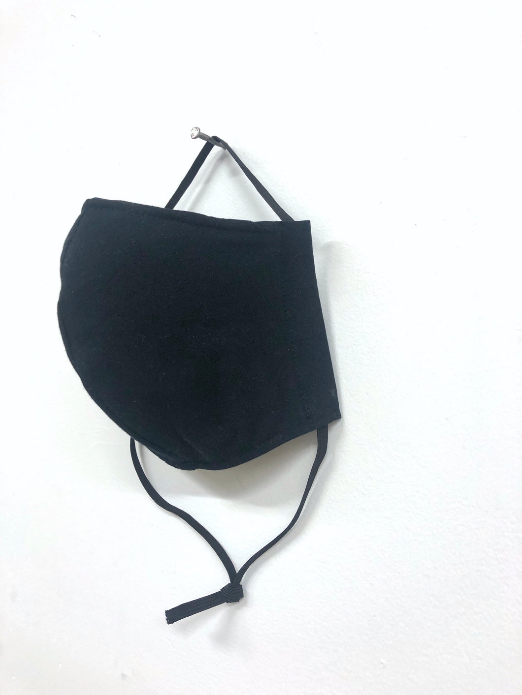 Black Health Mask - Elastic Tie