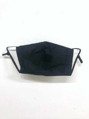 Black Face Mask with Filter Pocket - Ear Loops or Elastic Tie