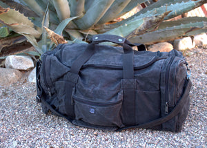 Waxed Canvas Duffle Bag (Black) - Cedar Waxcraft