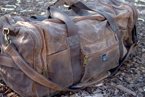 Waxed Canvas Duffle Bag (Brown) - Cedar Waxcraft