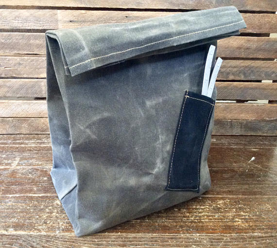 Waxed Canvas Lunch Bag w/ Pocket (Green) - Cedar Waxcraft