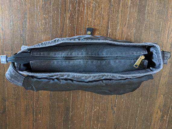 Waxed Canvas Messenger Bag (Black) - Cedar Waxcraft