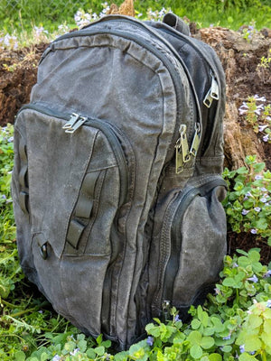 Waxed Canvas Backpack (Black) - Cedar Waxcraft