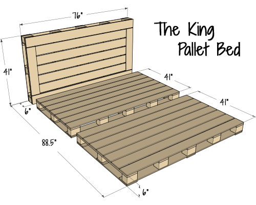 Pallet Bed Dimensions Diagram - King Size by Pallet Bedz