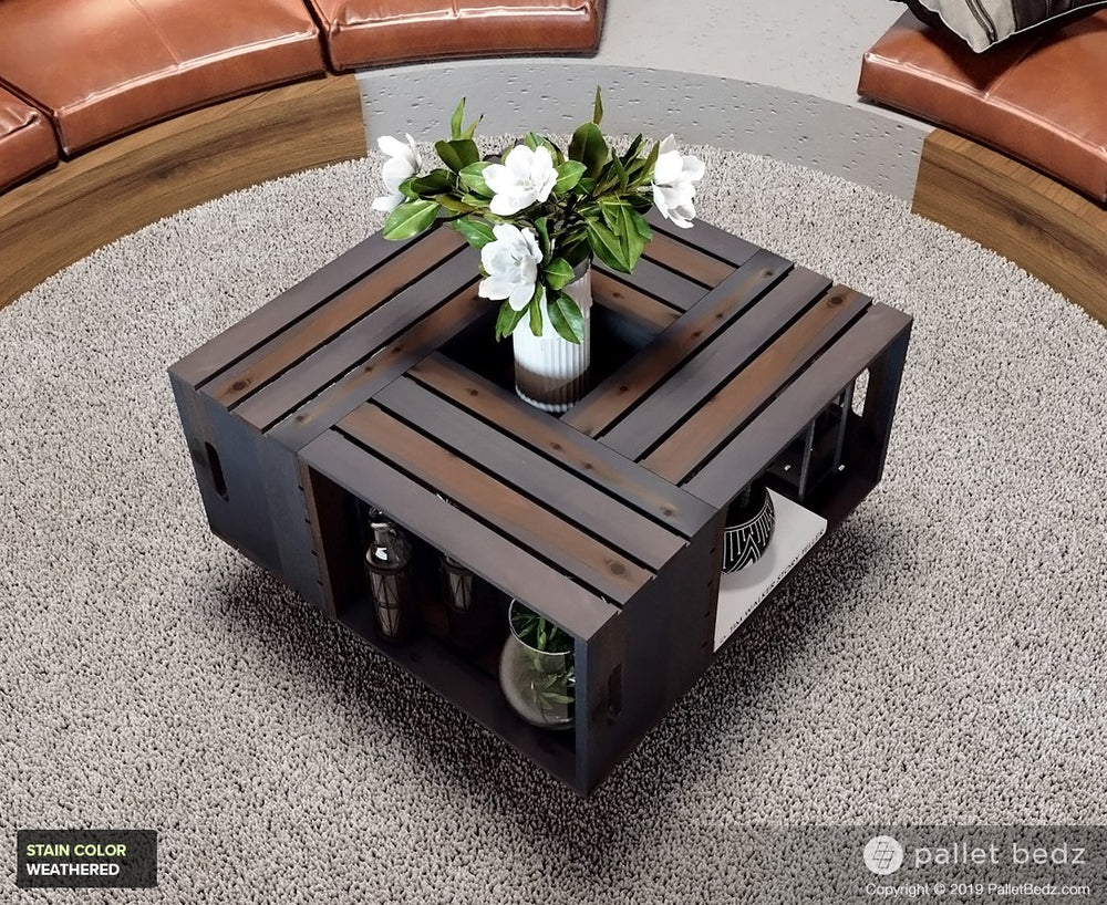 Pallet Wood Coffee Table - Wooden Crate Table - Weathered