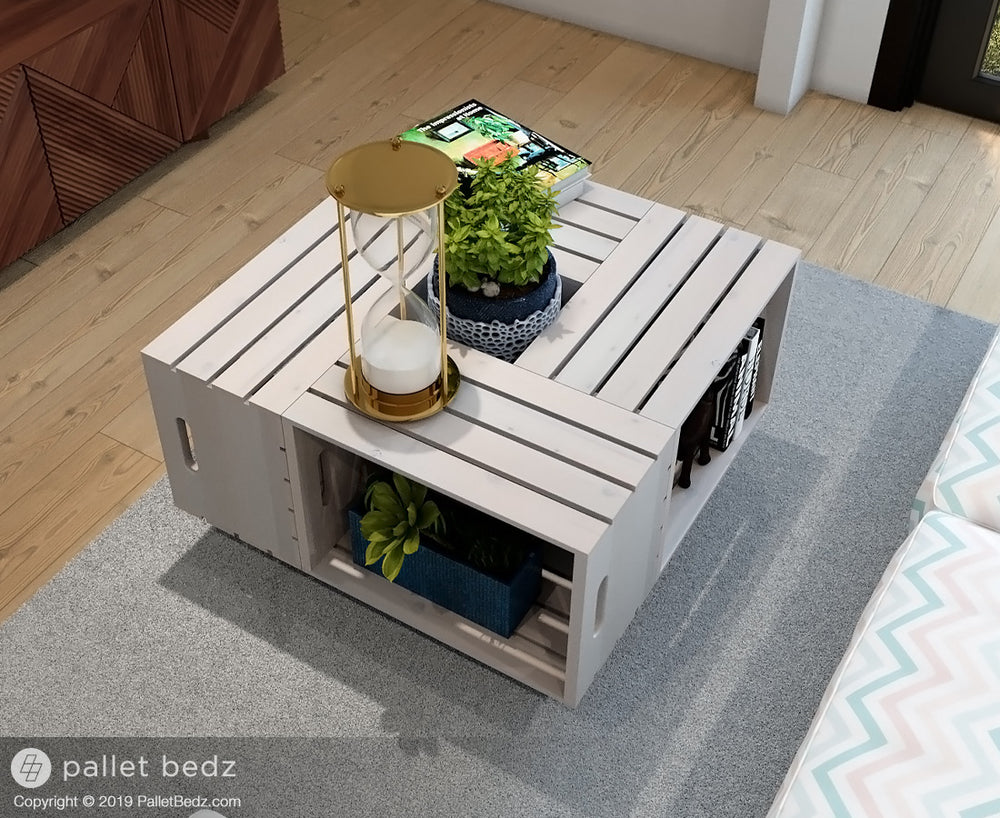 Wooden Crate Table - Pallet Wood Coffee Table by Pallet Beds