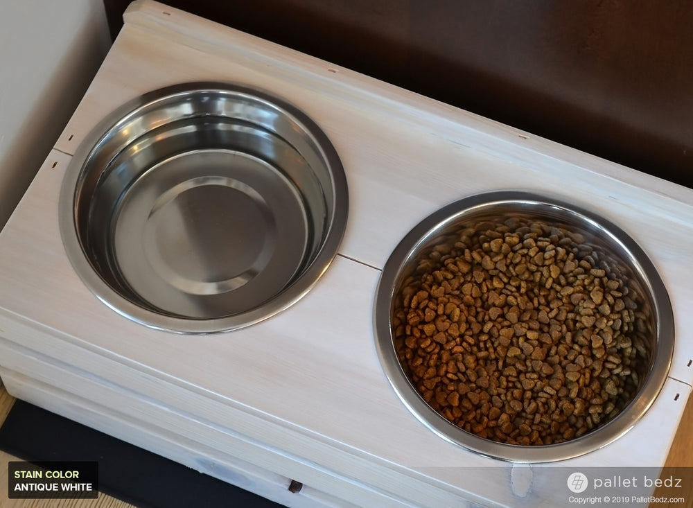 Pallet Dog Feeder with Two Stainless Steel Bowls - Large