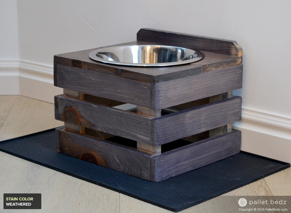 Pallet Dog Bowl Holder with Stainless Steel Bowl - Large