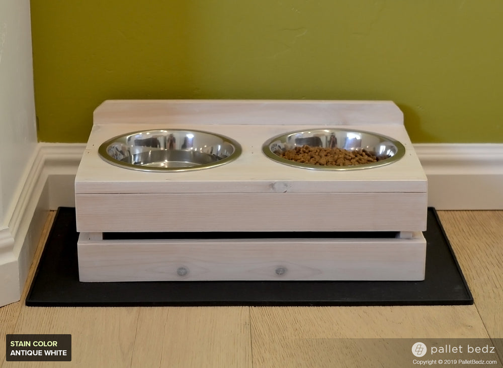 Pallet Dog Feeder with Two Stainless Steel Bowls - Small