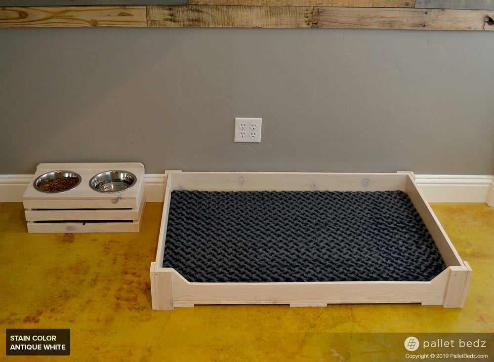 Pallet Dog Bed and Double Feeder Combo for Large Dogs