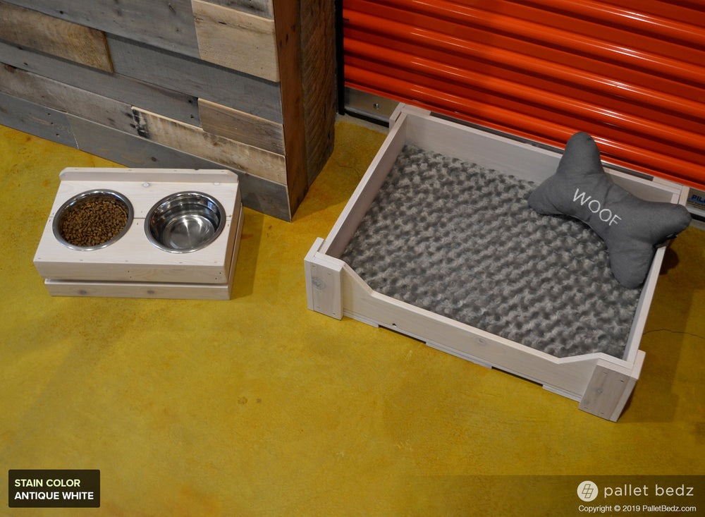 Pallet Dog Bed and Double Feeder Combo for Small Dogs