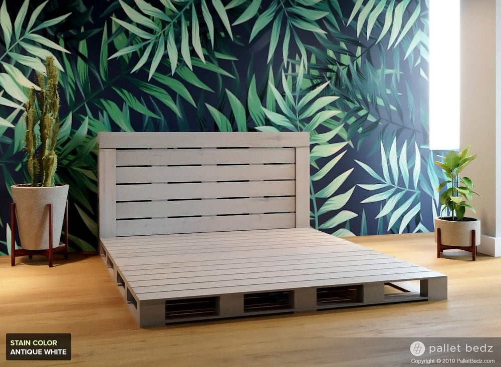 Pallet Beds - Platform Bed in Antique White Stain