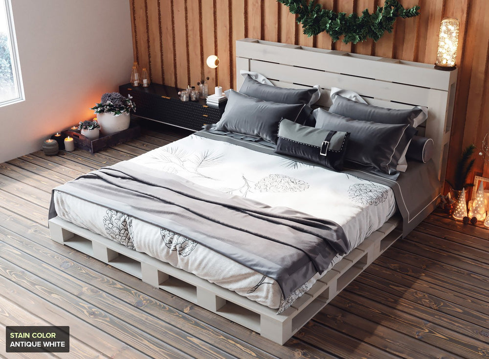 Pallet Bed for King Size Mattress in Antique White Stain