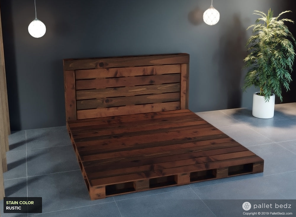 Pallet Beds - King Platform Bed in Rustic Brown Stain