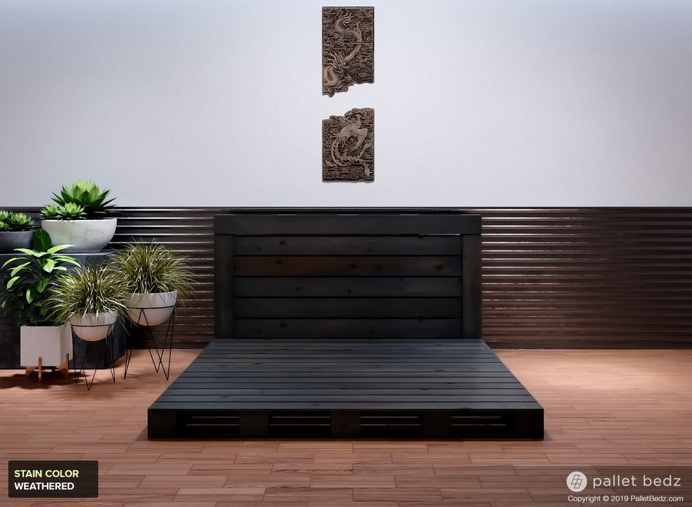 Pallet Beds - Platform Bed in Weathered Grey Stain