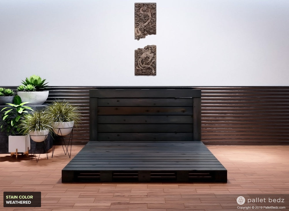 Pallet Bed for King Size Mattress in Weathered Stain and Finish