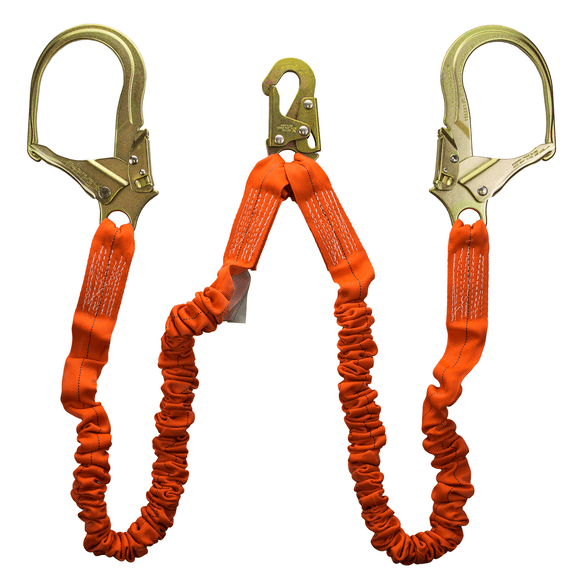 Guardian Fall Protection 01298 4.5'-6' Shock Absorbing Lanyard Double Leg with Rebar Hook