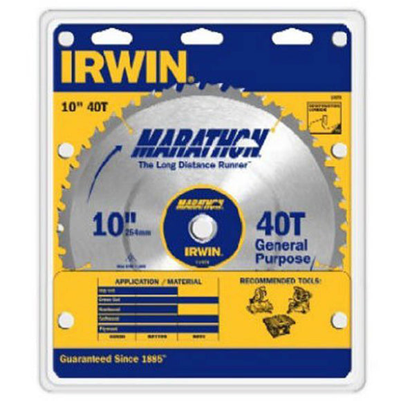 IRWIN Industrial 14070 Carbide Table / Miter Circular Blade, 10-Inch, 40T95 In T, 40 Teeth, 5/8 In Arbor