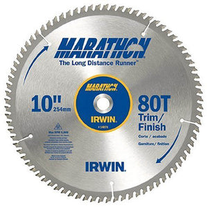 "IRWIN Industrial 14076 10"" 80T Marathon Miter & Table Saw Blades"