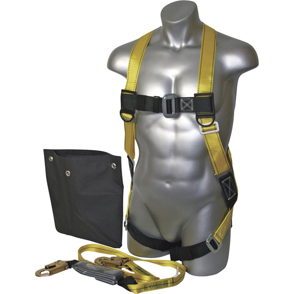 Guardian Fall Protection 17204 Contractor Kit W/ (Size S-L) Velocity (01700) Harness, 6' Single Leg Lanyard & Backpack