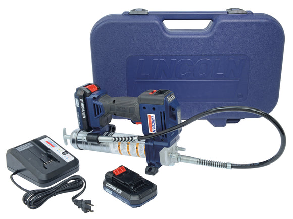 Lincoln Industrial 1884 PowerLuber 20V Lithium-Ion Grease Gun Kit with 2 Batteries and an LCD Display