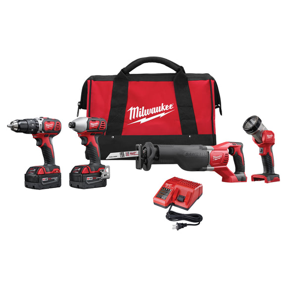 Milwaukee 2696-24 M18 4-Tool Cordless Combo Kit