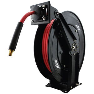 "Milton 2760-50D Steel Dual Arm Auto-Retractable Air Hose Reel, 3/8"" x 50 ft. Rubber Hose - 300 Max PSI"