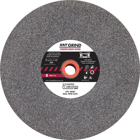 United Abrasives 28023 ALUMINUM OXIDE BENCH WHEEL 8