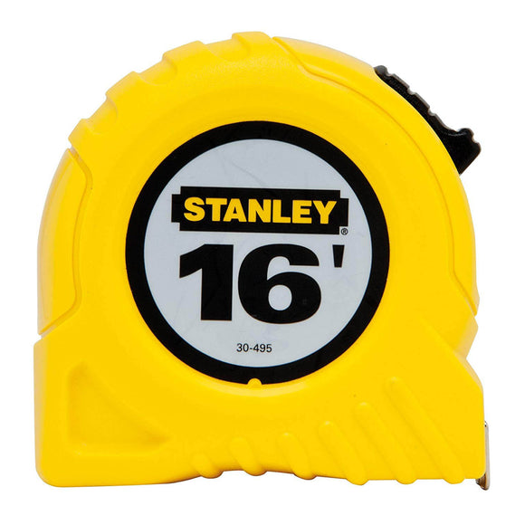 Stanley 30-495 Measuring Tape, 16 Ft L X 3/4 In W, Steel, Yellow