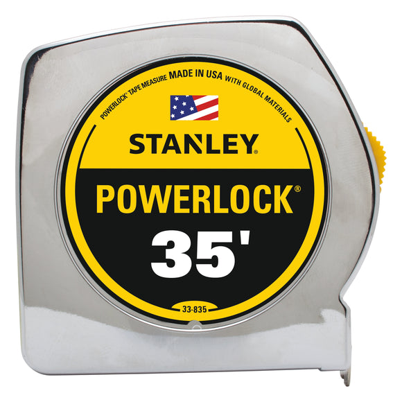 Stanley Powerlock 33-835 Measuring Tape, 35 Ft L X 1 In W, Steel