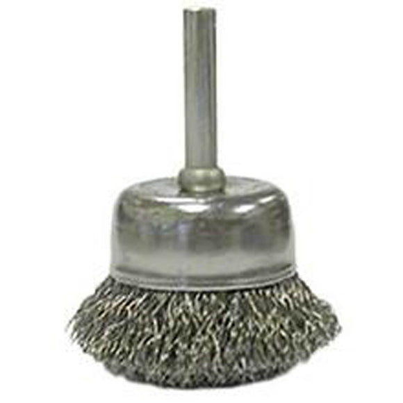 Weiler 36029 Crimped Wire Cup Brush, 2 In Dia X 1/4 In, 0.014 In Wire, Carbon, Coarse