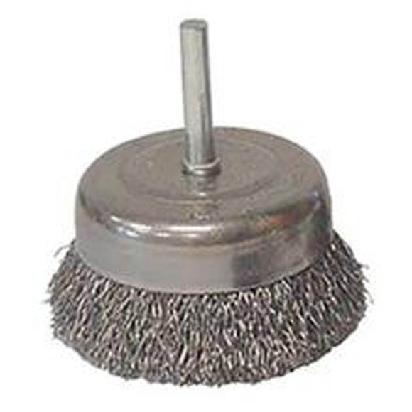 Weiler 36030 Coarse Grade Crimped Wire Cup Brush, 3 In Dia, 0.014 In Wire, Carbon Steel