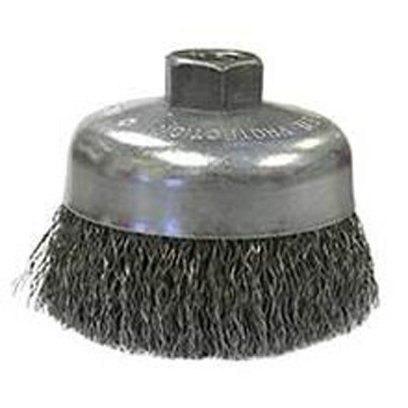 Weiler 36037 Coarse Grade Crimped Wire Cup Brush, 6 In Dia X 5/8-11, 0.02 In Wire, Carbon Steel