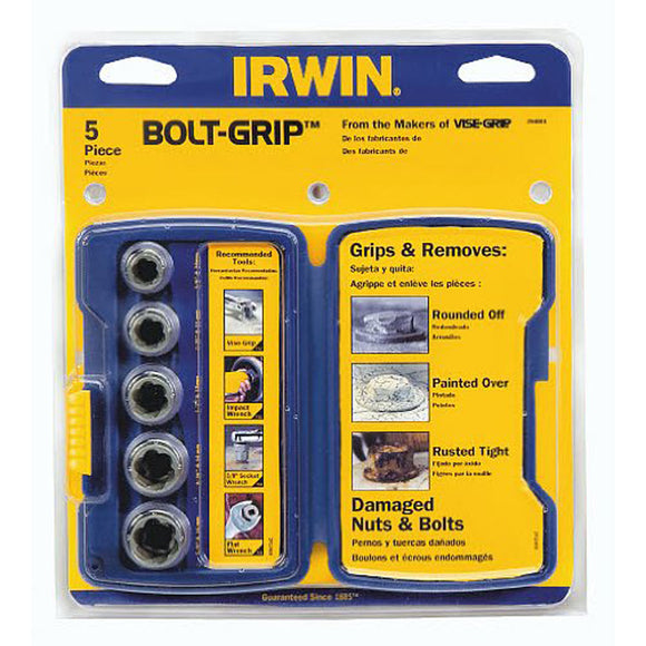 IRWIN 394001 Bolt-Grip Base Set, 5 Pieces, 3/8 In Drive