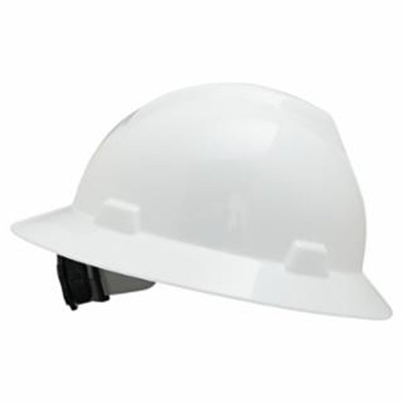 MSA 454-475369 MSA V-Gard White Full Brim Hard Protective Hat W/Ratchet