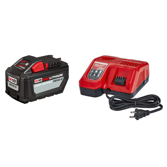 Milwaukee 48-59-1200 M18 Redlithium High Output HD12.0 Battery Pack w/ Rapid Charger