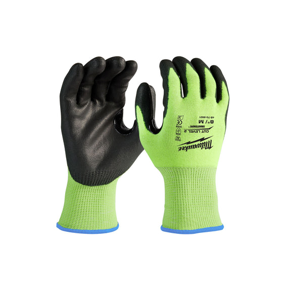 Milwaukee High Visibility Polyurethane Dipped Gloves 12 Pack (Multiple Cut Levels and Sizes Available)