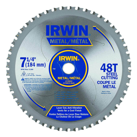 IRWIN Industrial 4935555 Metal-Cutting Circular Saw Blade, 7 1/4-inch, 48T