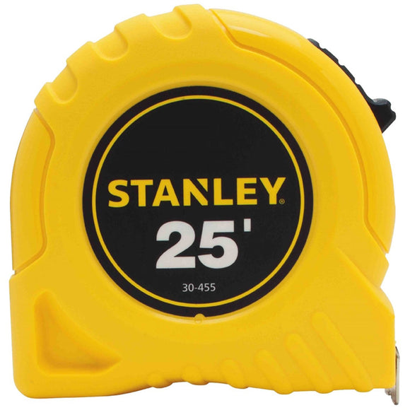 Stanley 30-455 Measuring Tape, 25 ft L x 1 in W Blade, Steel Blade, Yellow