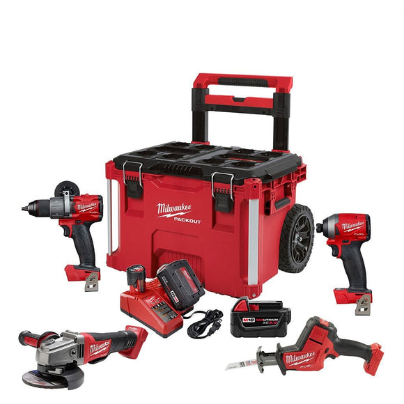 Milwaukee 2997-24PO M18 Fuel 4 Piece Combo Kit With Rolling Packout