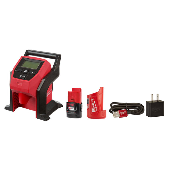 Milwaukee 2475-20T M12 Compact Inflator Combo Kit w/ Compact Charger and Power Source
