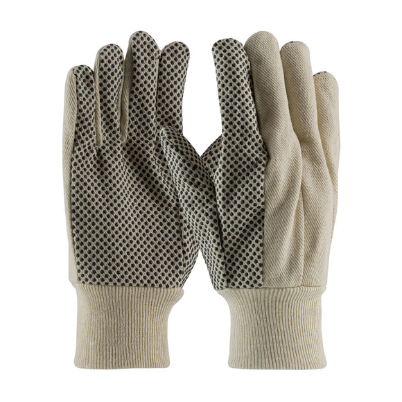 PIP 91-910PDI Economy Grade Cotton Canvas Glove with PVC Dot Grip on Palm, Thumb and Forefinger - 10 oz
