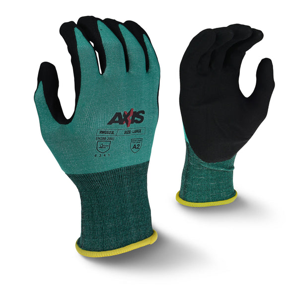 Radians RWG533 Axis Cut Protection Level A2 Foam Nitrile Coated Gloves (Multiple Sizes Available)