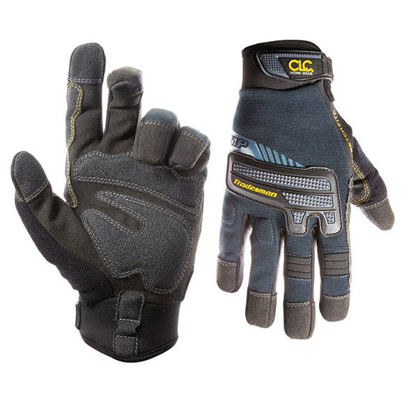 Custom Leathercraft 145L High-Dexterity Work Gloves, L, Hook-and-Loop Cuff, Terry-Flex Thumb, Syntrex Synthetic Leather