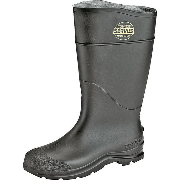 Servus 18822-9 Non-Insulated Knee Boot, Plain Toe, Pull On Closure, PVC, Black (Multiple Sizes Available)